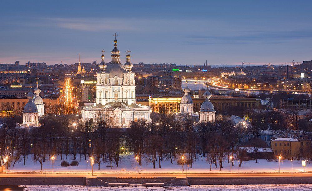 санкт-петербург, вечер, закат, крыша, смольный, собор, нева, Sergey Louks