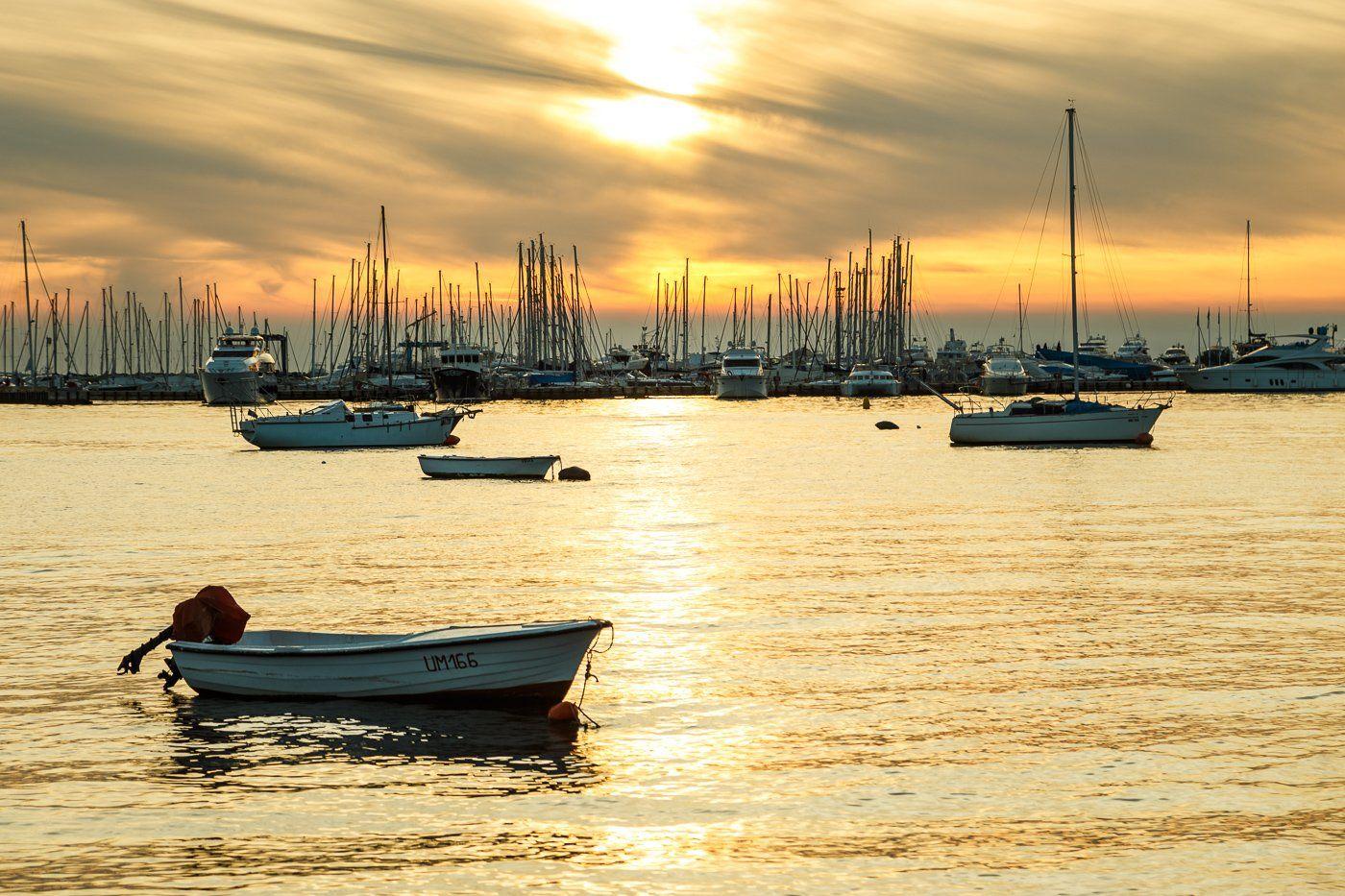 sea,umag,europe,boat,ship,landscape,water,sunset,sky,gold,sun, Алексей Гусев