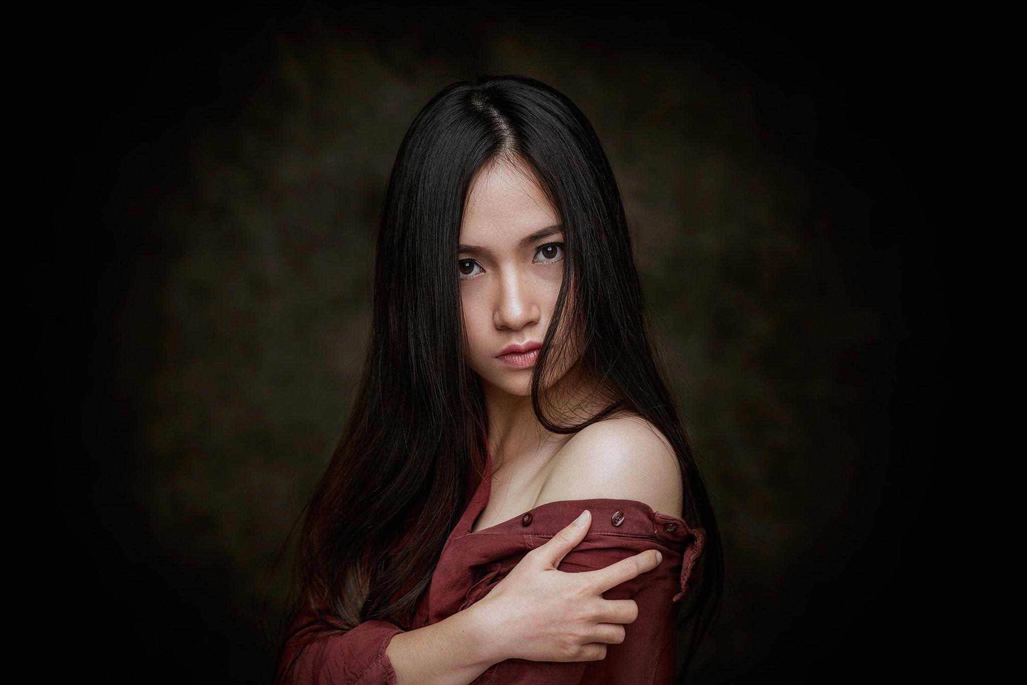 portrait, face, girl, asian, vietnam, vietnamese, eyes, longhair, young, Hoang Viet Nguyen