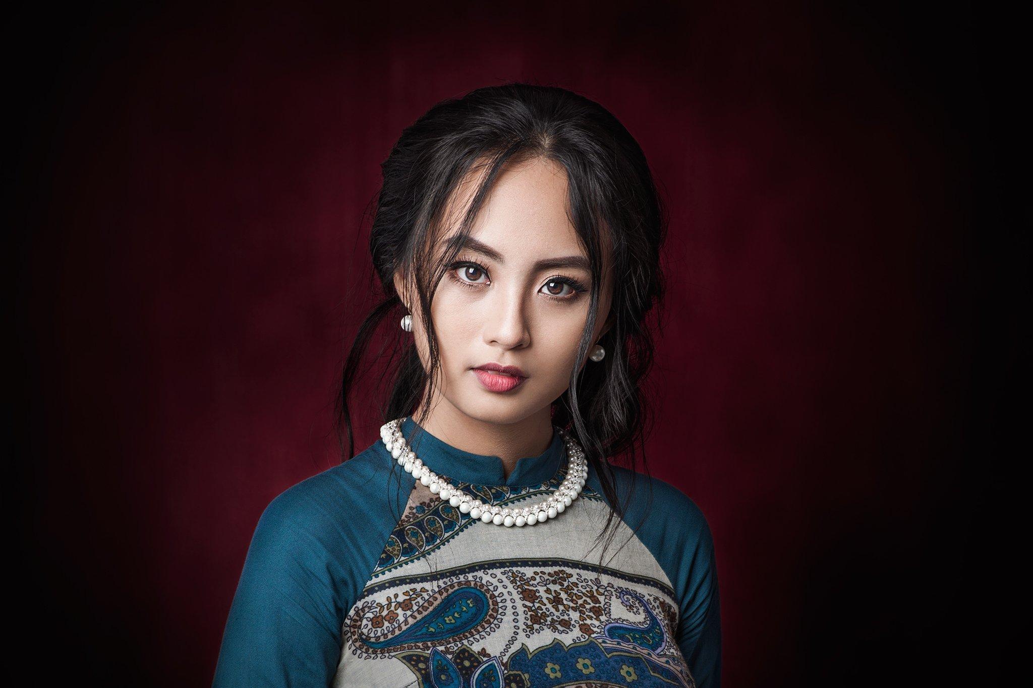 portrait, face, girl, asian, vietnam, vietnamese, eyes, longhair, young, glamour, beauty, model, dress, Hoang Viet Nguyen