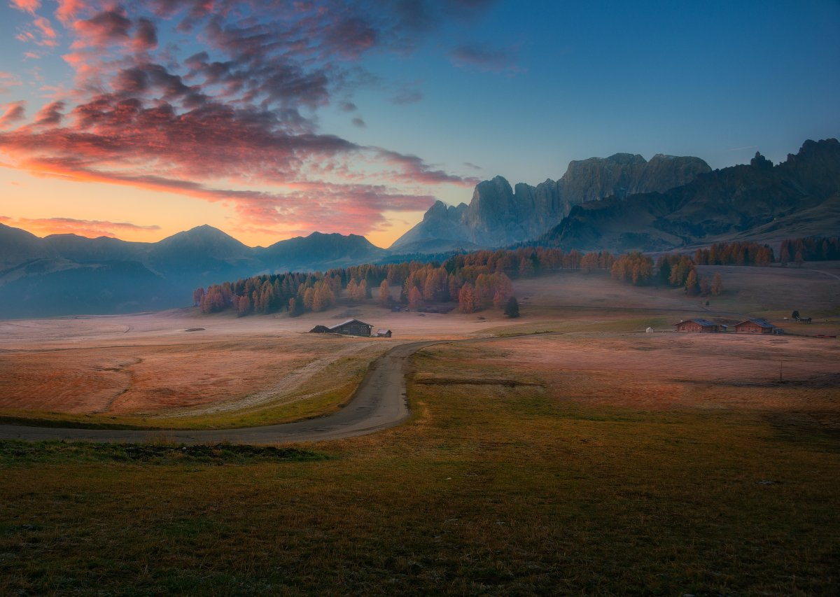 утро, рассвет, горы, облака, туман, Альпы, осень,, Cтанислав Малых