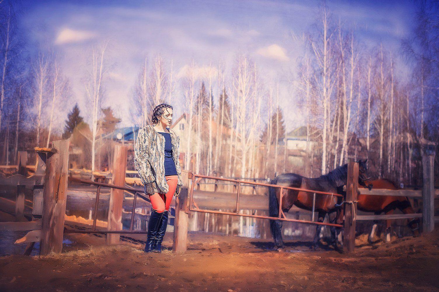 девушка, лошадь, плэнер, girl, horse, portrait , Марина Семёхина
