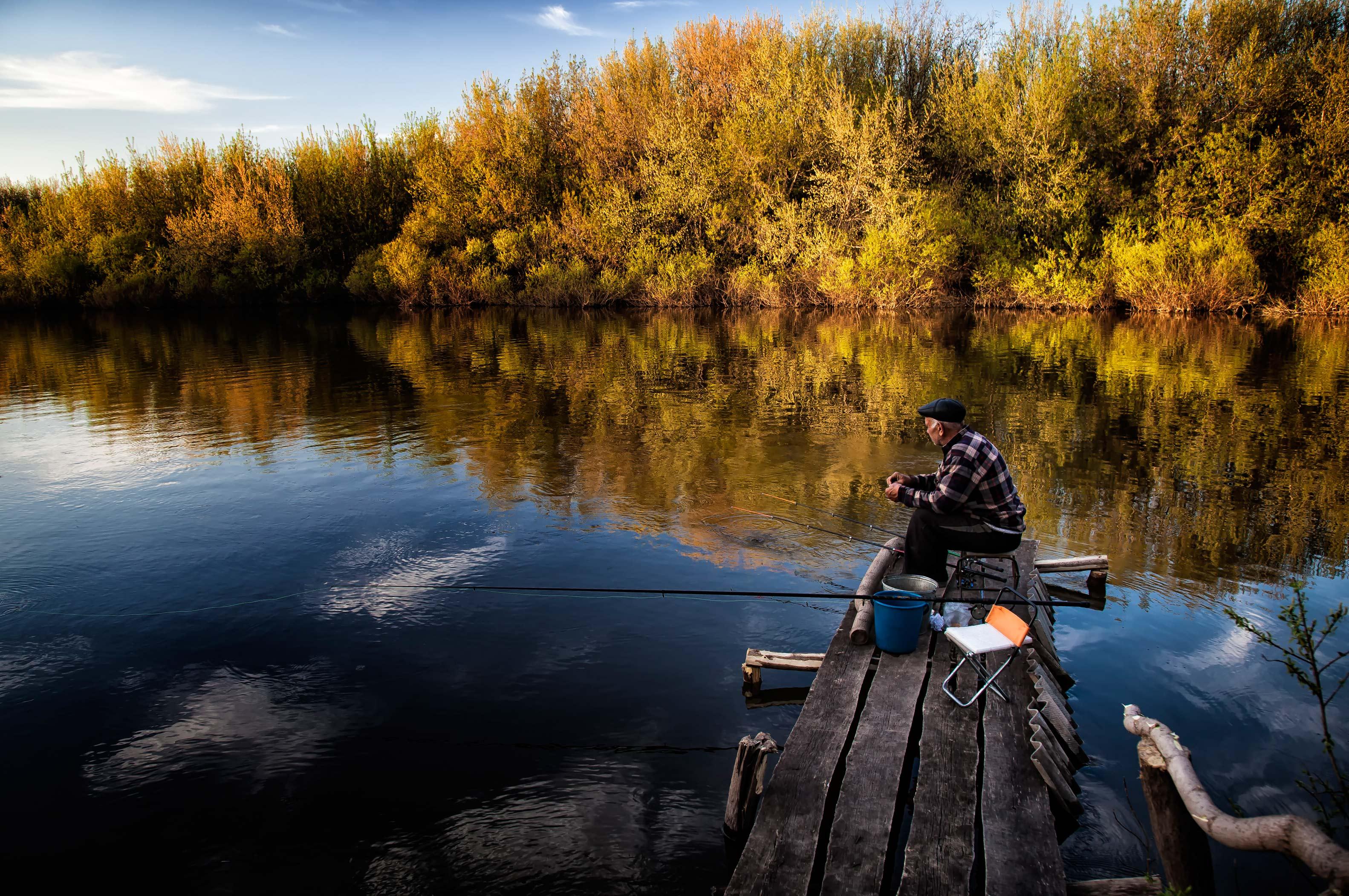 рыбак, река, вечер, башкирия, Дмитрий Уткин