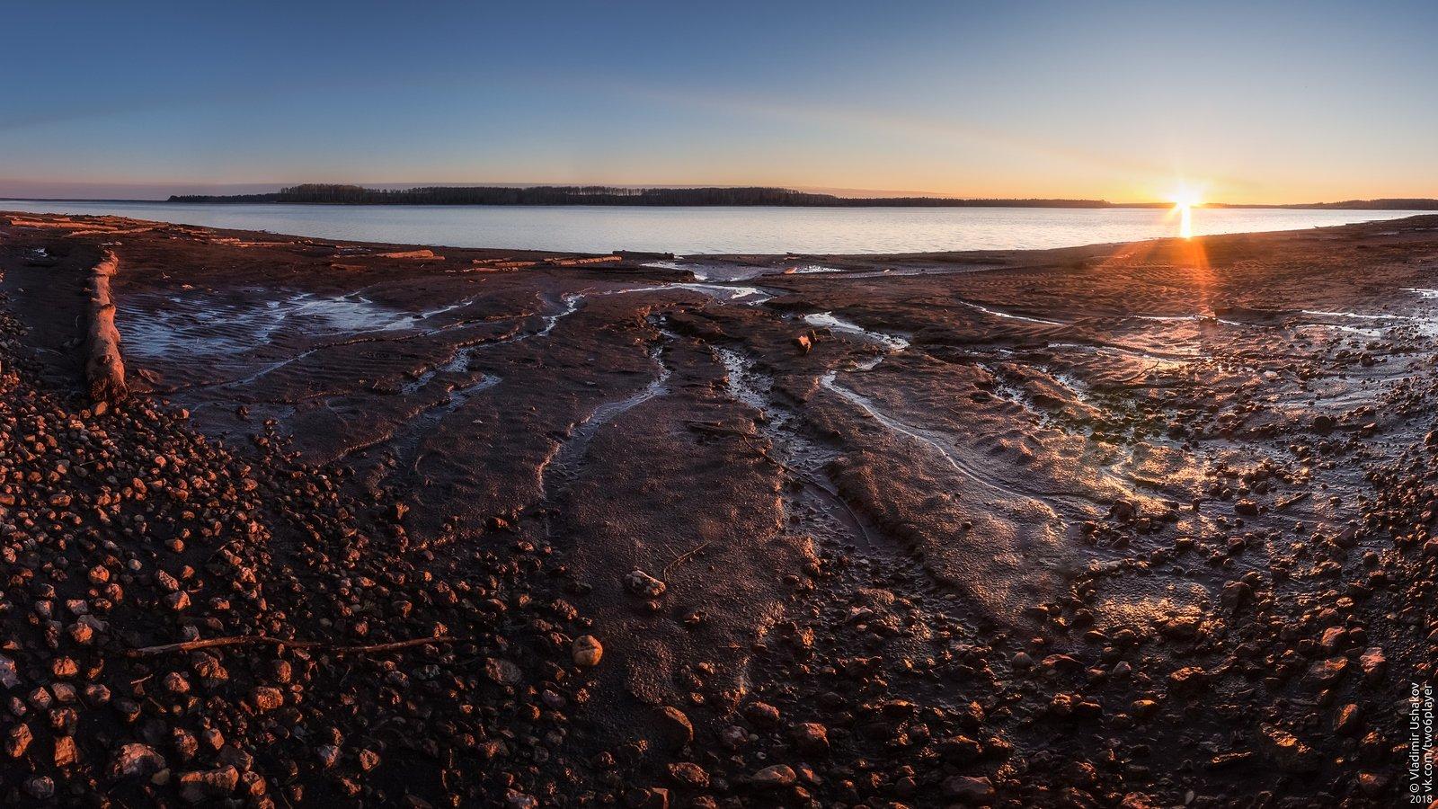 закат, солнце, вечер, берег, залив, кондас, пешково, пермский край, Владимир Ушаков