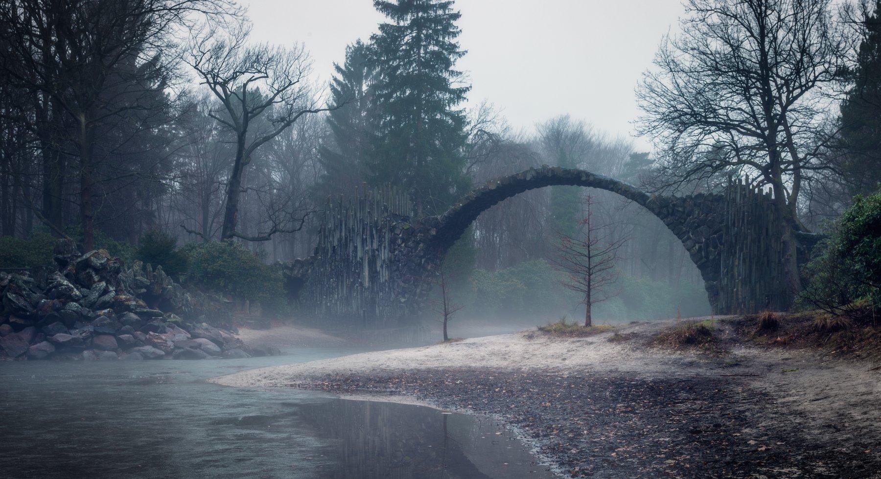 мост, туман, пейзаж, утро, вода, озеро, Ракотц, Германия, Алексей Чумаков
