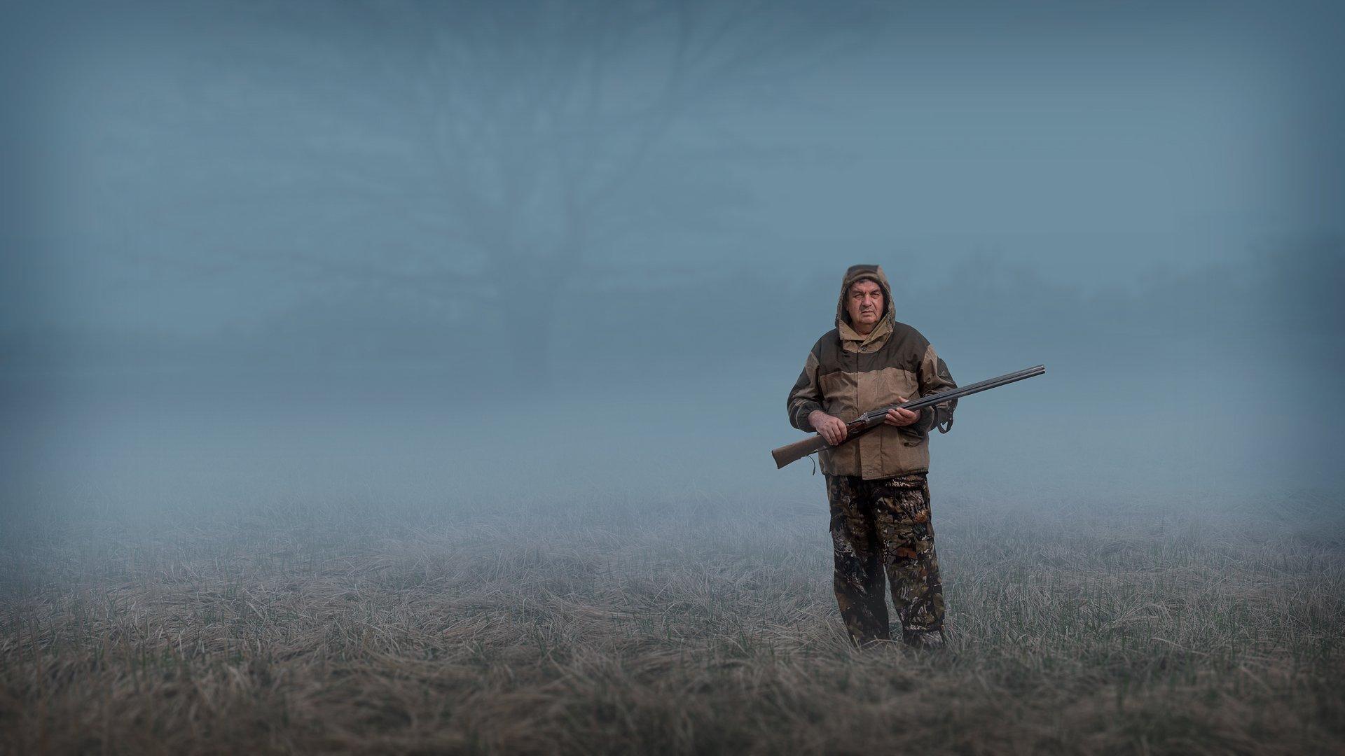 лес,туман,охотник, Георгий
