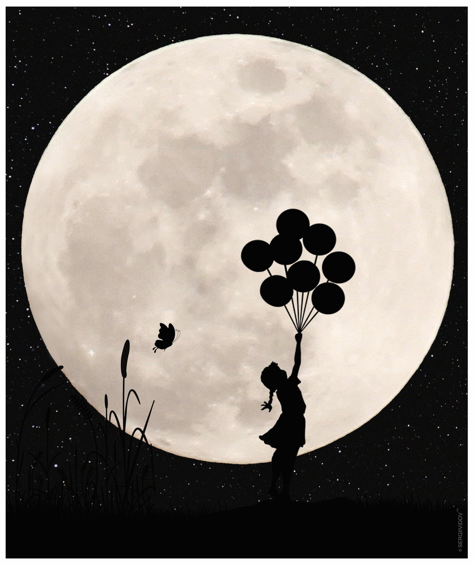 луна, воздушные шары, небо, ночь, ребенок, Sergii Vidov