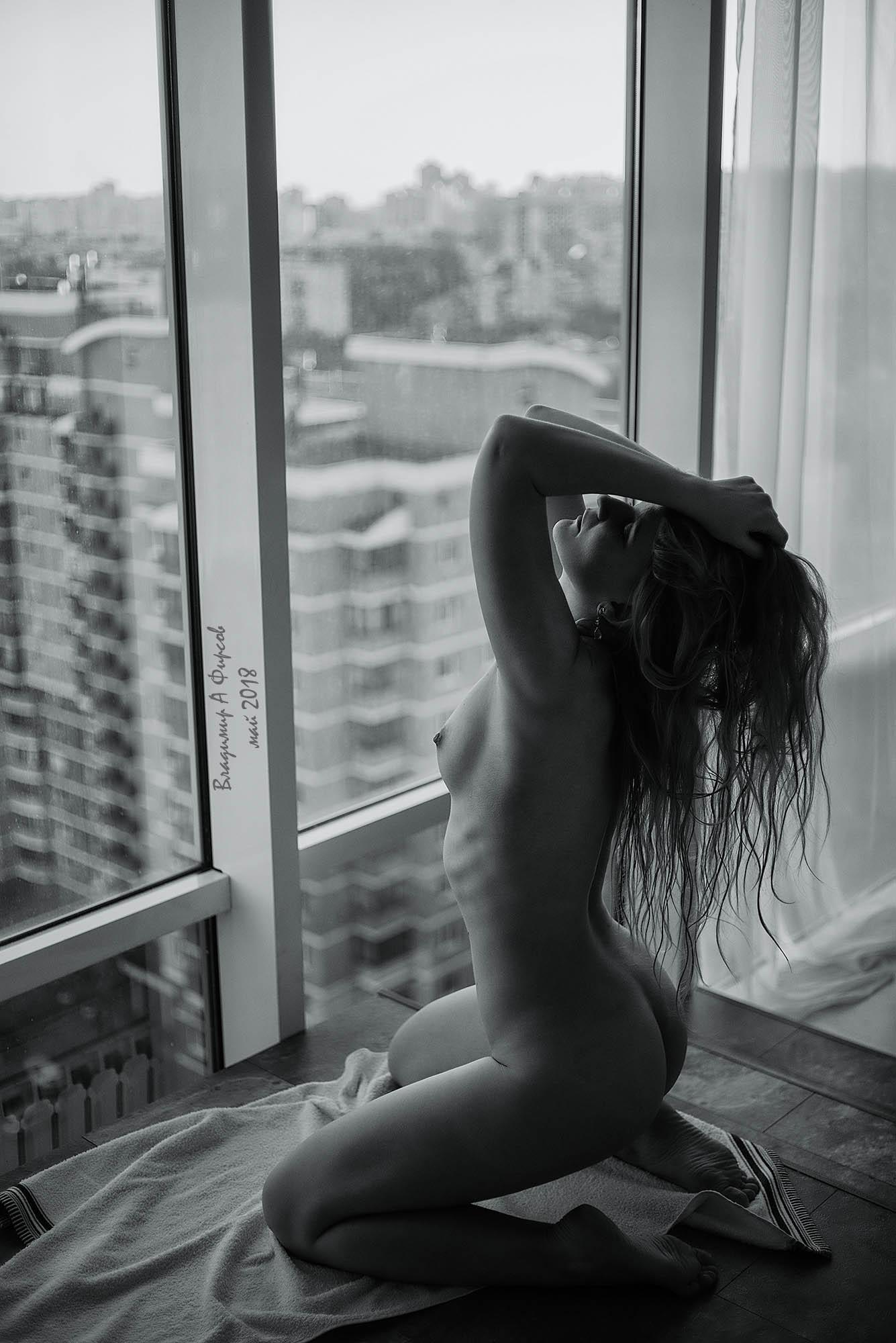черное, белое, утро, девушка, ню, студия, Владимир Фирсов