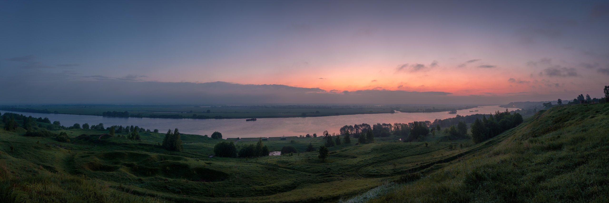 пейзаж, панорама, константиново, есенин, заря, рассвет, ока, Андрей Чиж
