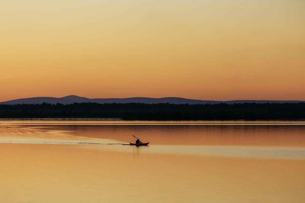 озеро,берег,полярная,ночь,лодка,, Матвеев Игорь
