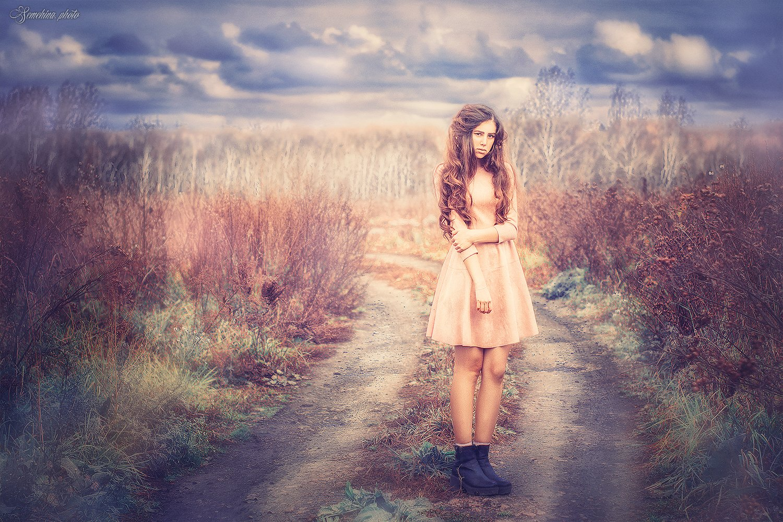 девушка, атмосферное фото, природа, тучи, girl, vintage, nature, clouds, Марина Семёхина