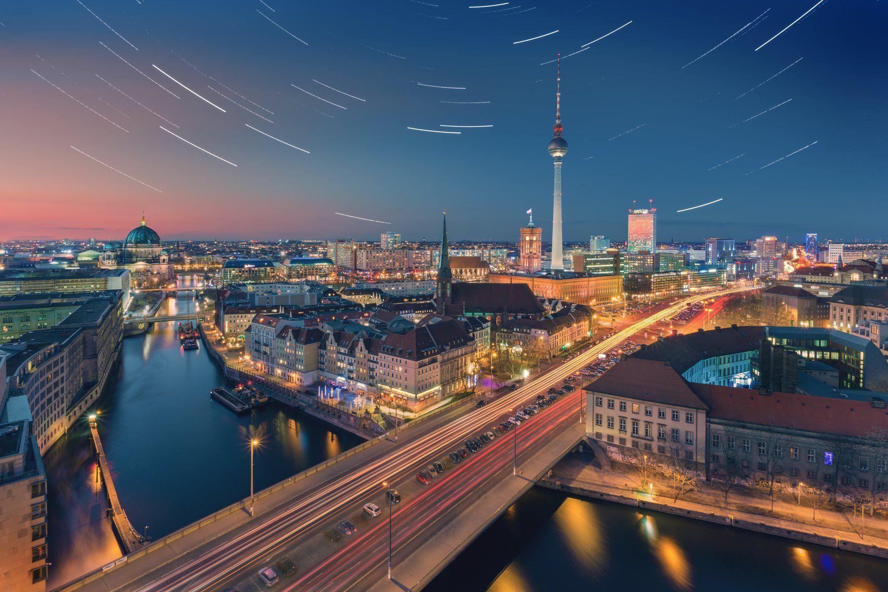 берлин, город, ночь, сумерки, улица, движение, небо, треки, германия, достопримечательности, свет, Алексей Чумаков