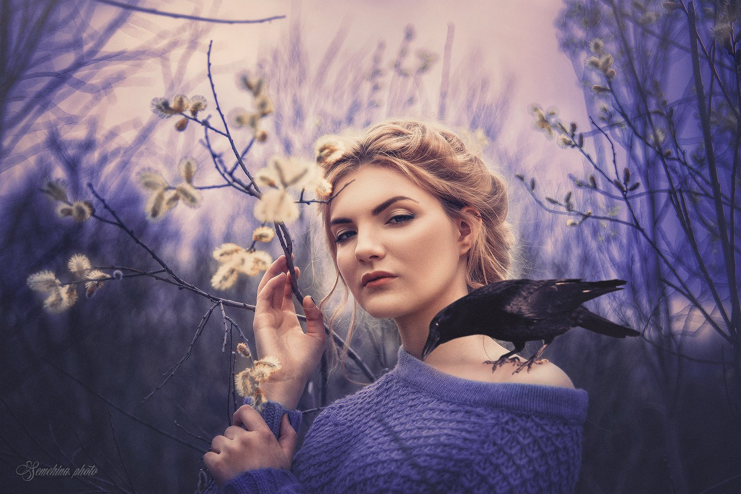 девушка, ворон, птица, верба, весна, драма, girl, drama, bird, spring, Марина Семёхина