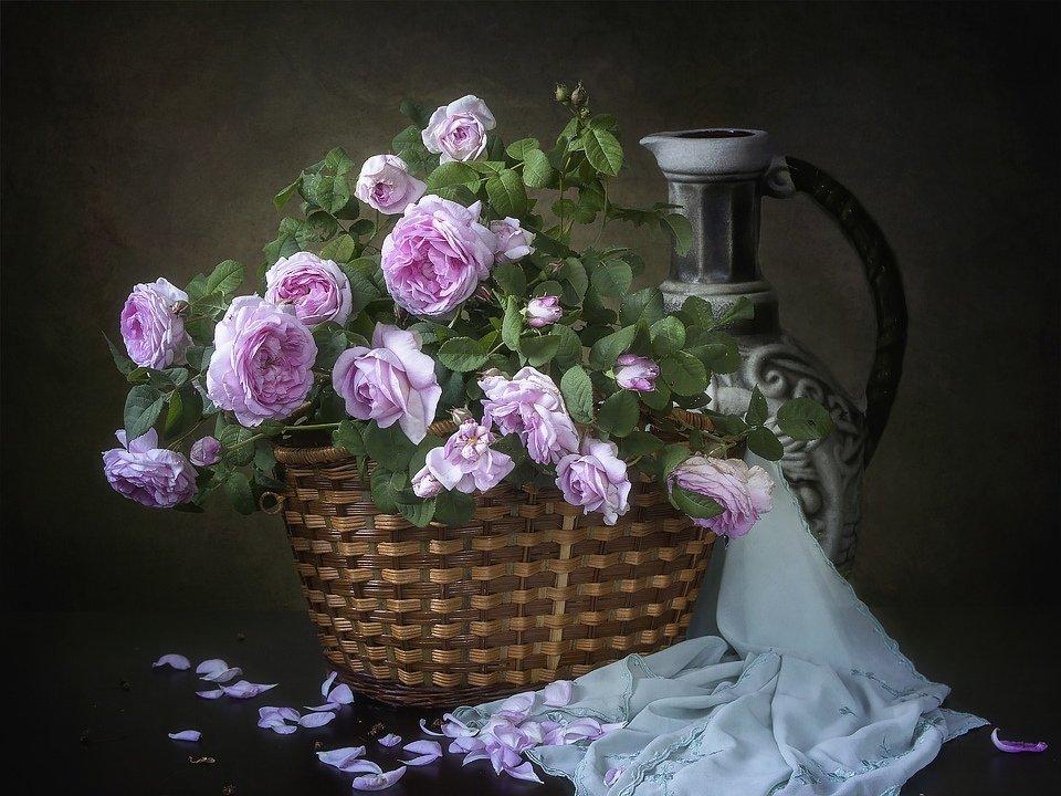 натюрморт, цветы, лето, садовые, розовые розы, корзина, Ирина Приходько