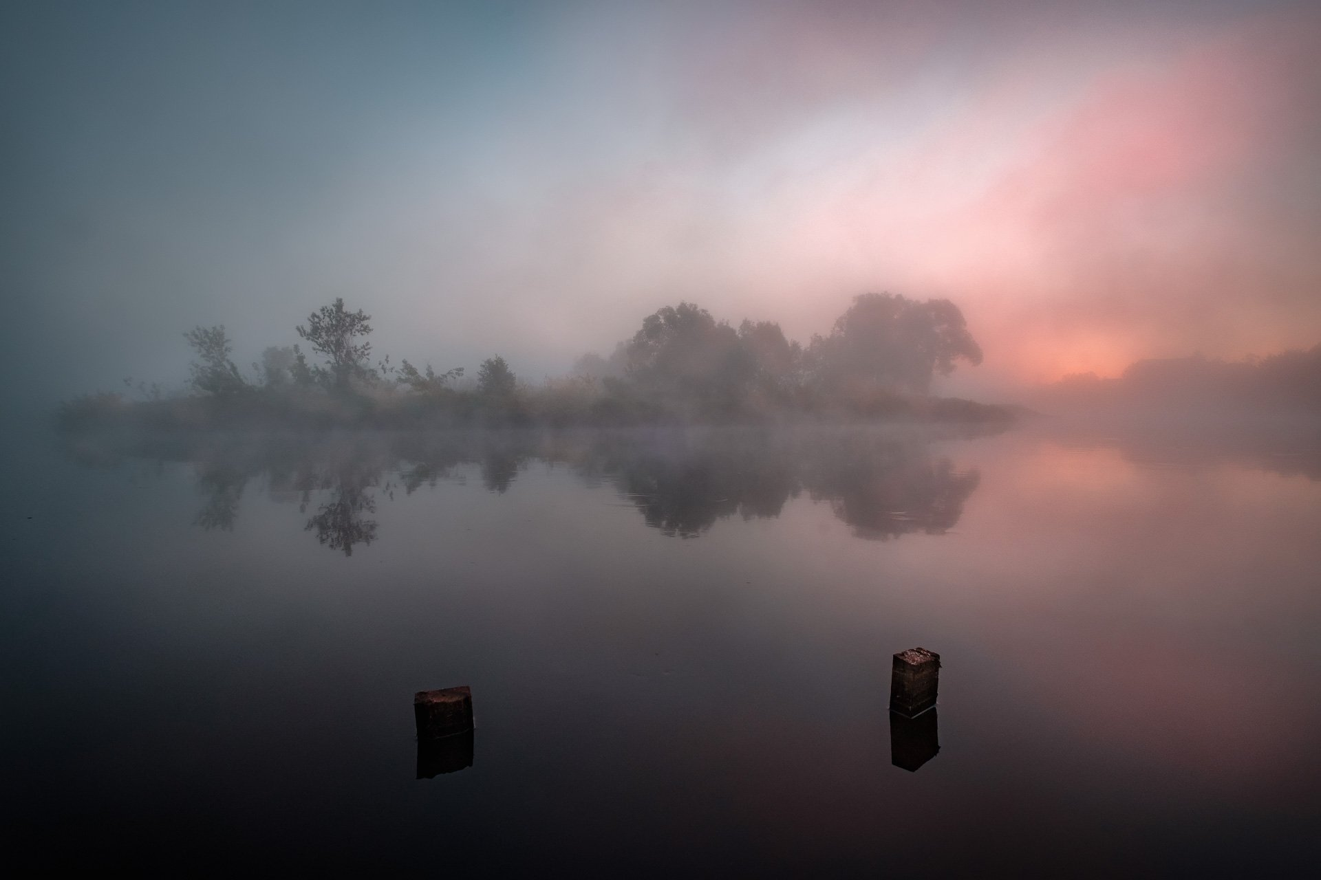 пейзаж, природа, заря, рассвет, туман, дубна, река, утро, Андрей Чиж