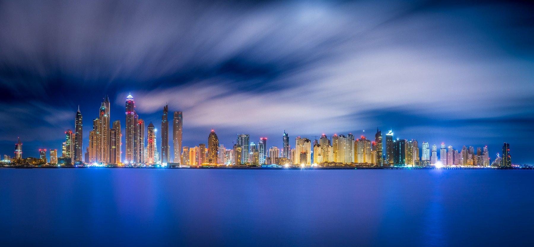 дубай, оаэ, эмираты, город, архитектура, небоскребы, ночь, облака, dubai, uae, cityscape, architecture, Alex Mayer