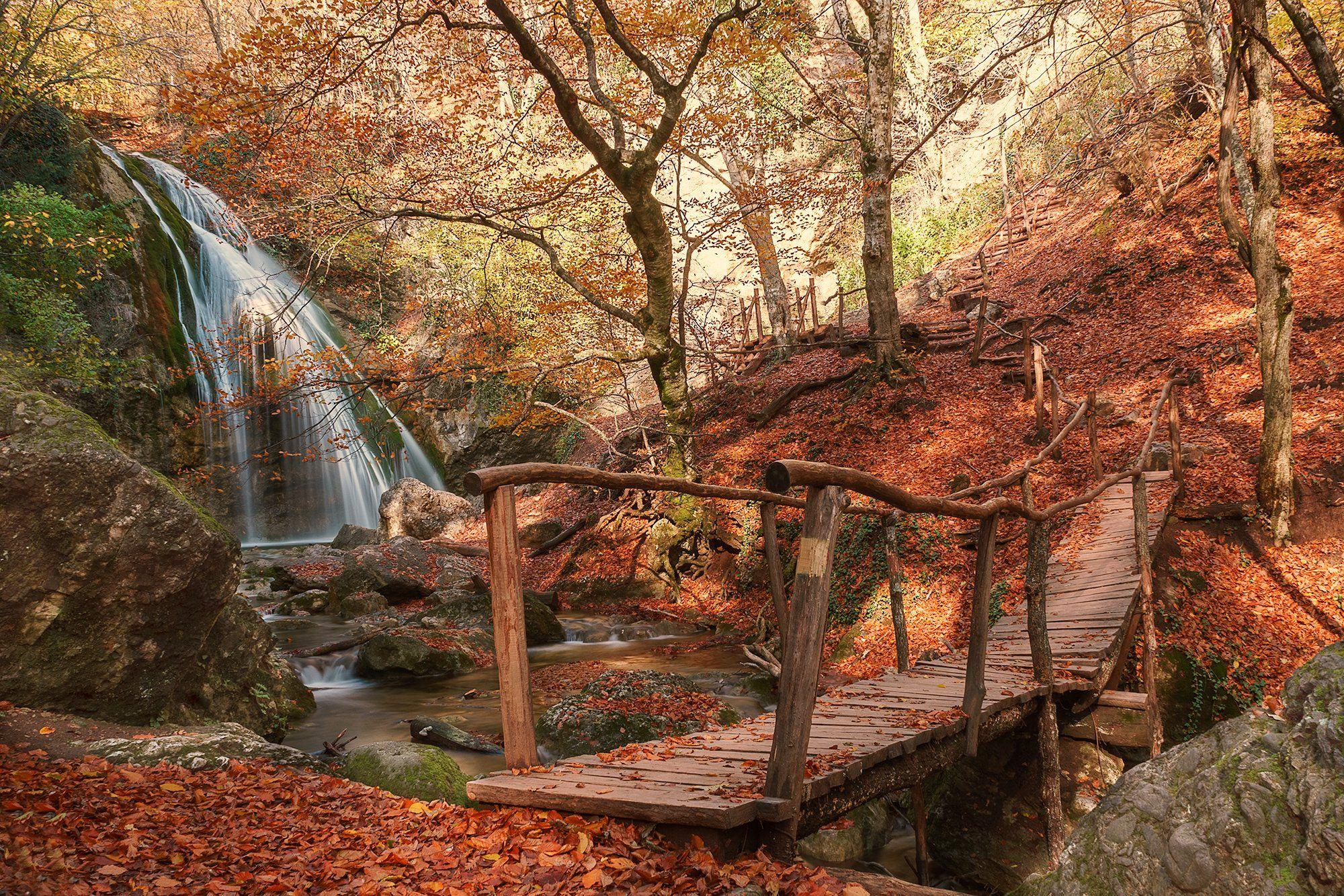 природа, пейзаж, водопад, Джур-Джур, Россия, Крым, осень, мост, камни, Лариса Николаевна