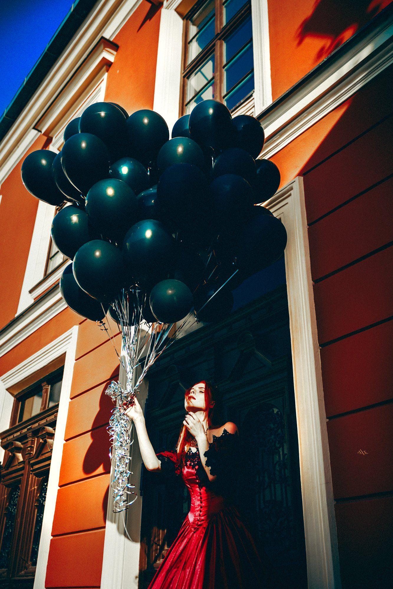 woman, portrait, fashion, art, beauty, dress, balloons, conceptual, Руслан Болгов (Axe)