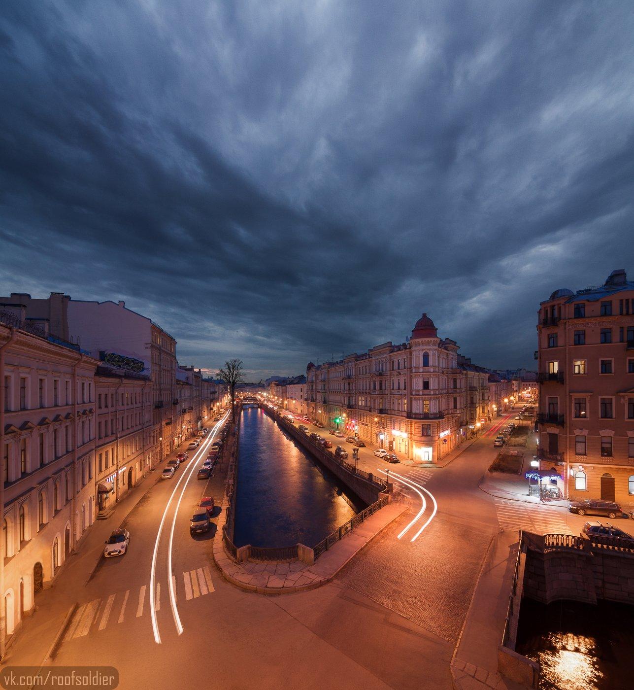Крыша, пейзаж, выдержка, река, башня, город, архитектура, Голубев Алексей