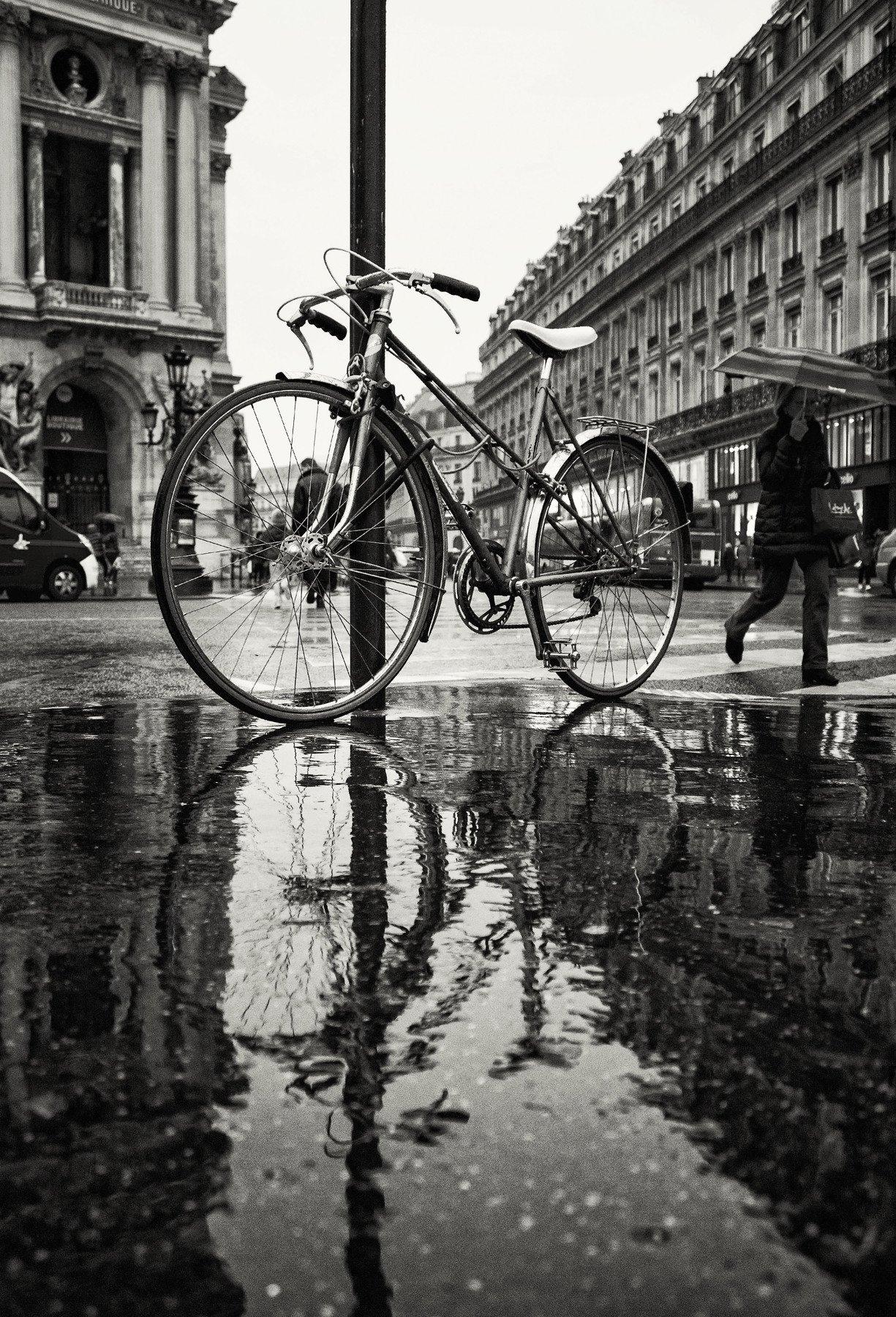 paris, cycle, rain, umbrella, puddle, reflex, france, париж, дождь, отражение, франция, зонт, лужа, Егор Бугримов