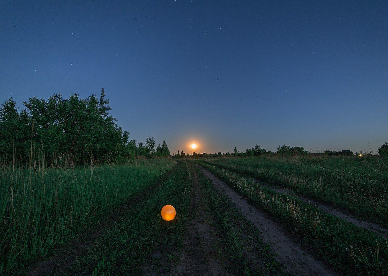 пейзаж, луна, рассвет, Артемий Тузов