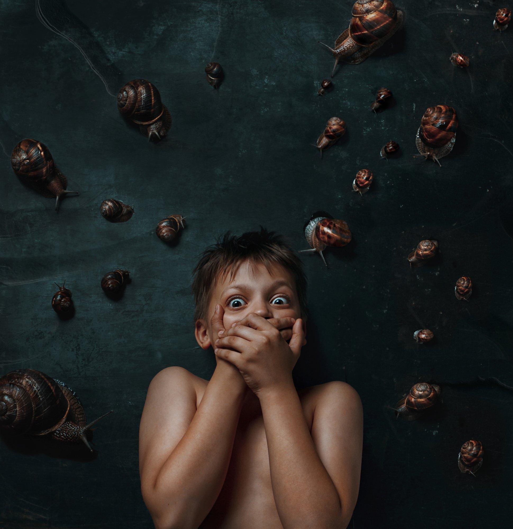 фобия, страх, ребенок, мальчик, портрет, улитка, Наталья Голубева