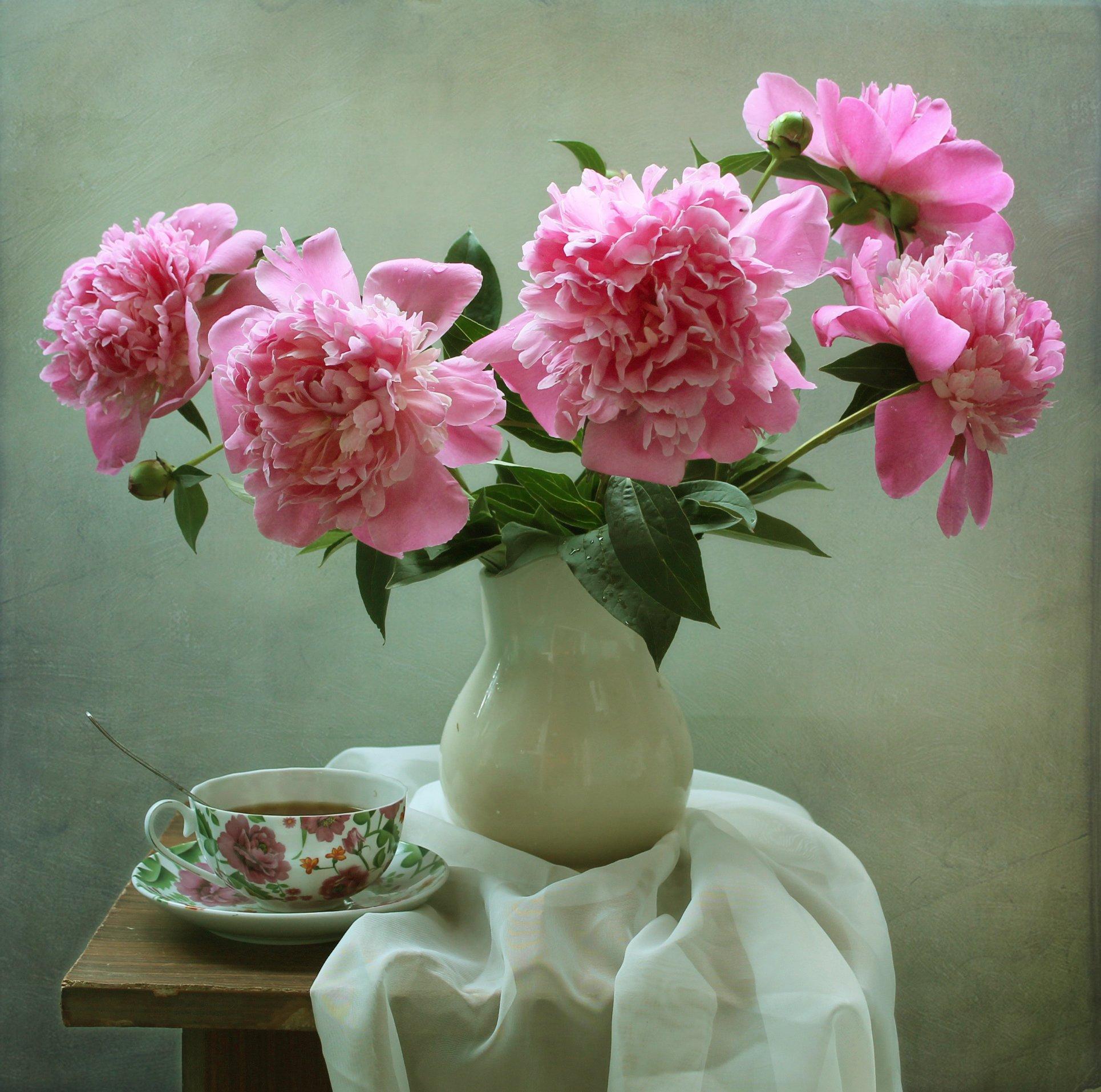 натюрморт, лето, цветы, пионы, фарфор, Ковалева Светлана