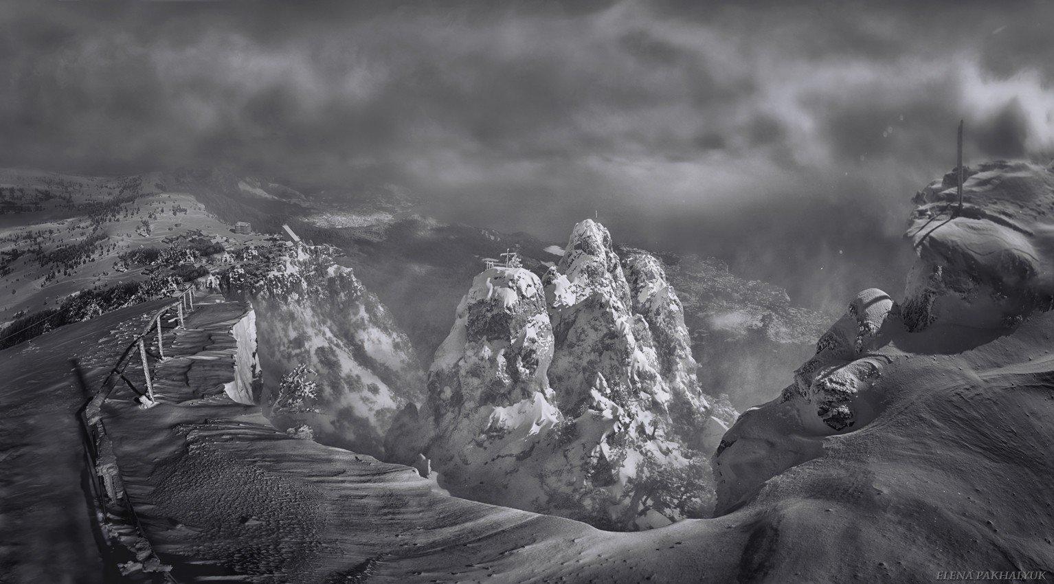 крым,айпетри,гора,черно белый,снег,зима,вершина,белый,облака,туман,солнце,пурга,пейзаж, Elena Pakhalyuk