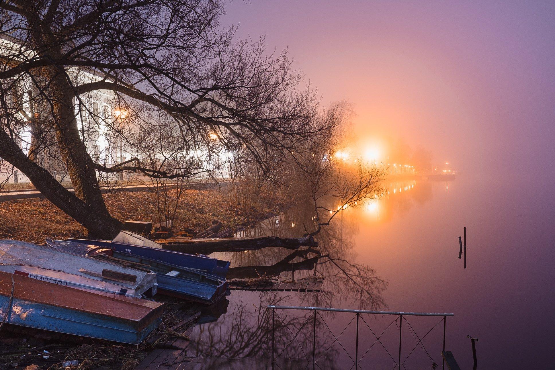 ночь, свет, туман, плёс, иваново, россия, пейзаж, fujifilm, xtrance, landscape, night, fog, Кирилл Соколов