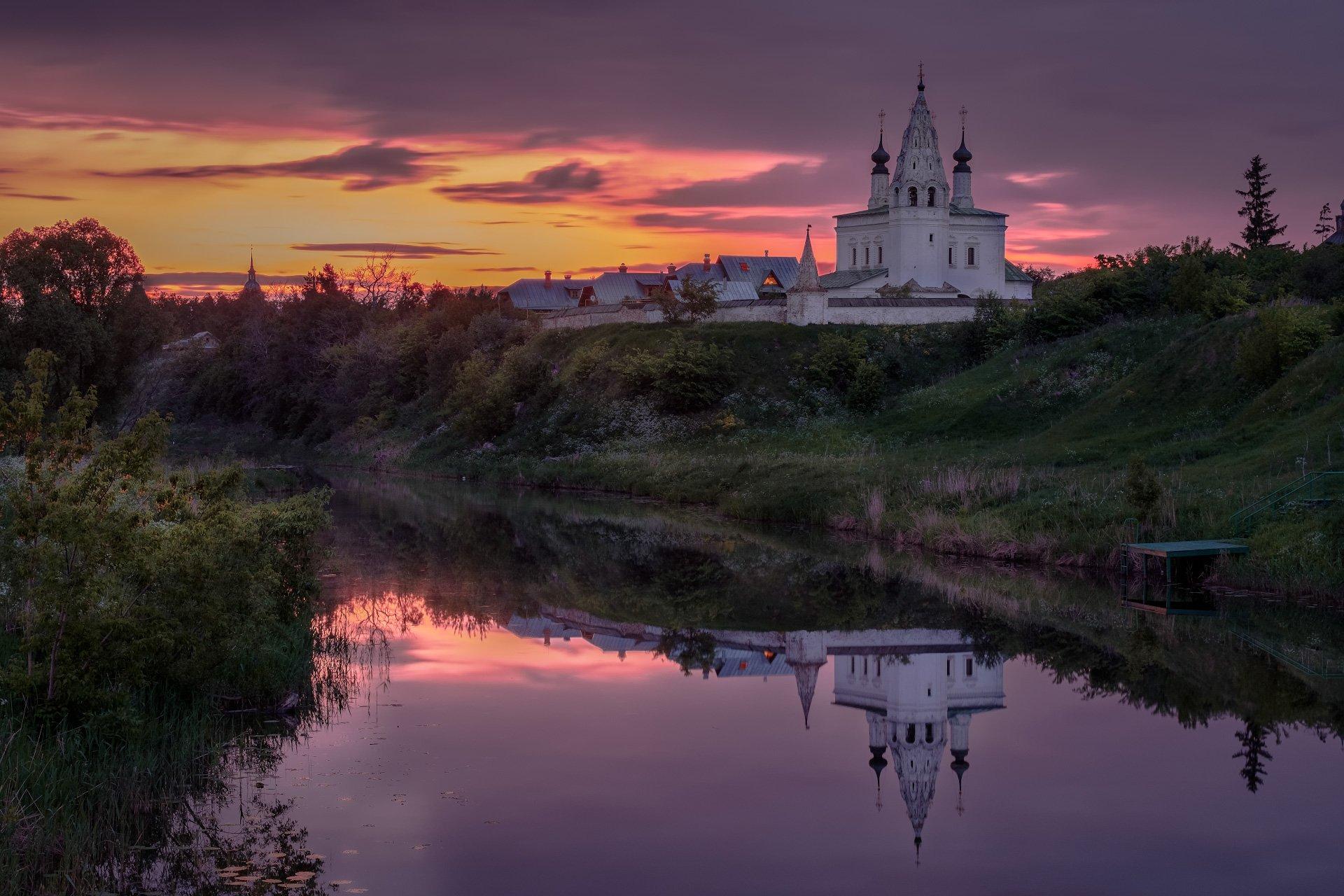 пейзаж, природа, суздаль, церковь, храм, рассвет, заря, река, каменка, Андрей Чиж