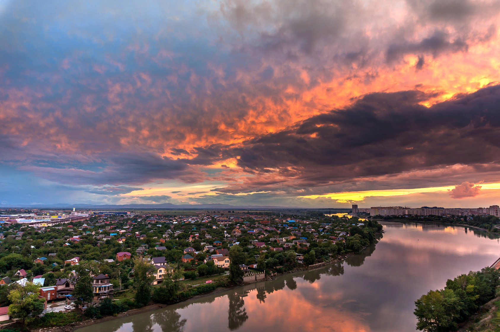 krasnodar, sunrise, city, river, light, sky, Сергей Тихомиров