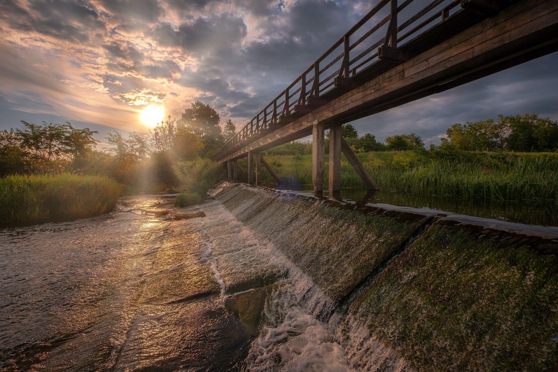 пейзаж, природа, река, каменка, порог, суздаль, утро, мост, Андрей Чиж