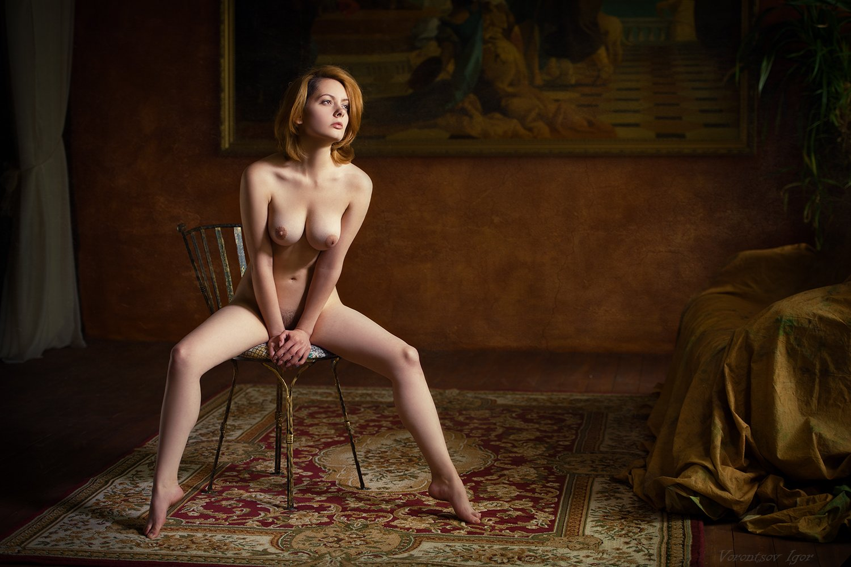 ню, девушка, грудь, обнажённая, картина, Воронцов Игорь