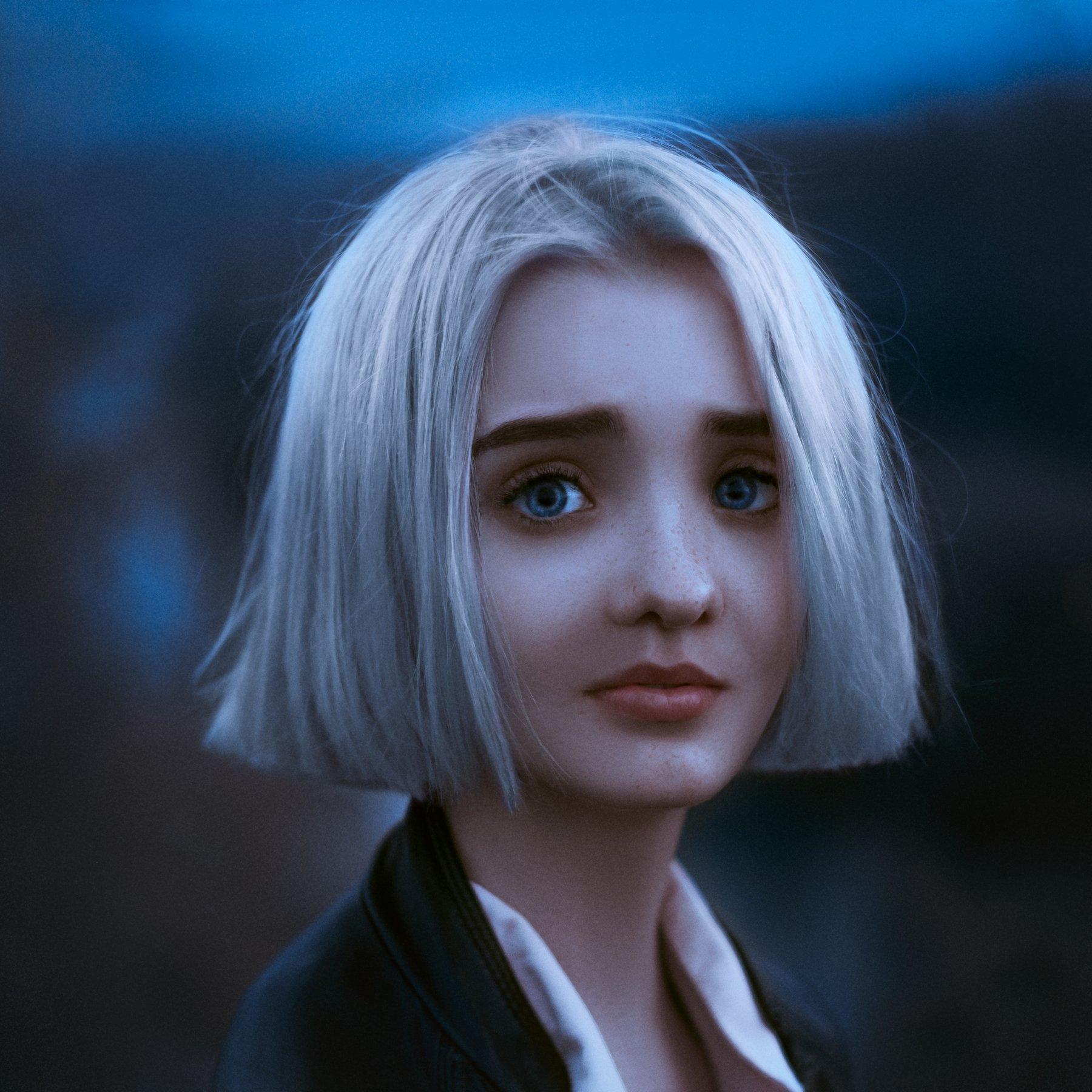 art portrait girl blue eyes, Богдан Савош