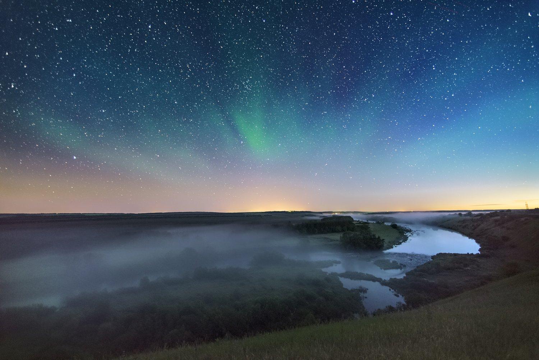ночь,туман,свечение,звёздное небо, Соколов Андрей