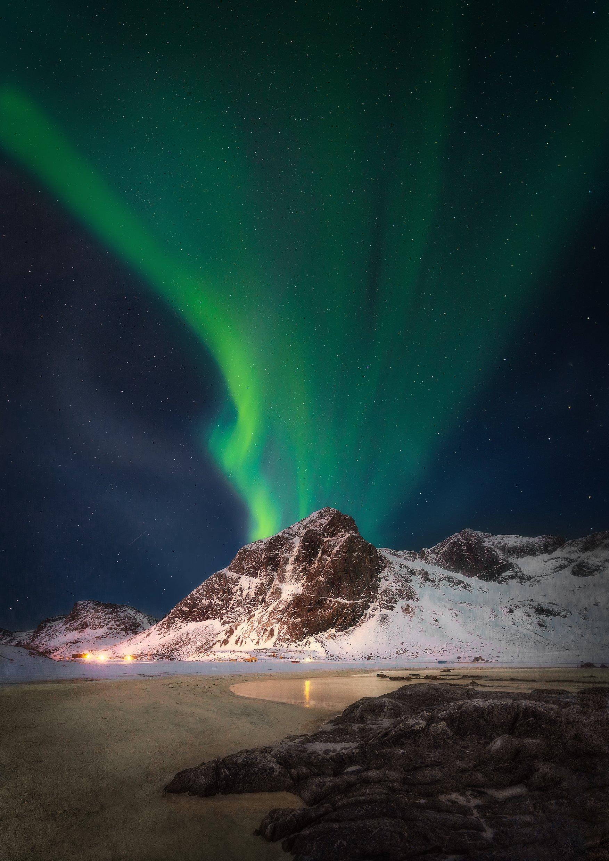 aurora, Norway, Lofoten, night, stars, beach, Flakstad, mountains, snow, , Patrycja