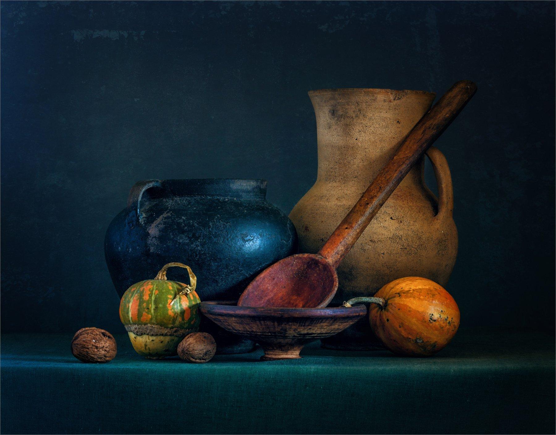 still life, натюрморт,   ретро, винтаж, кувшин, тыква, орехи, еда, ложка, деревянная ложка,, Михаил MSH