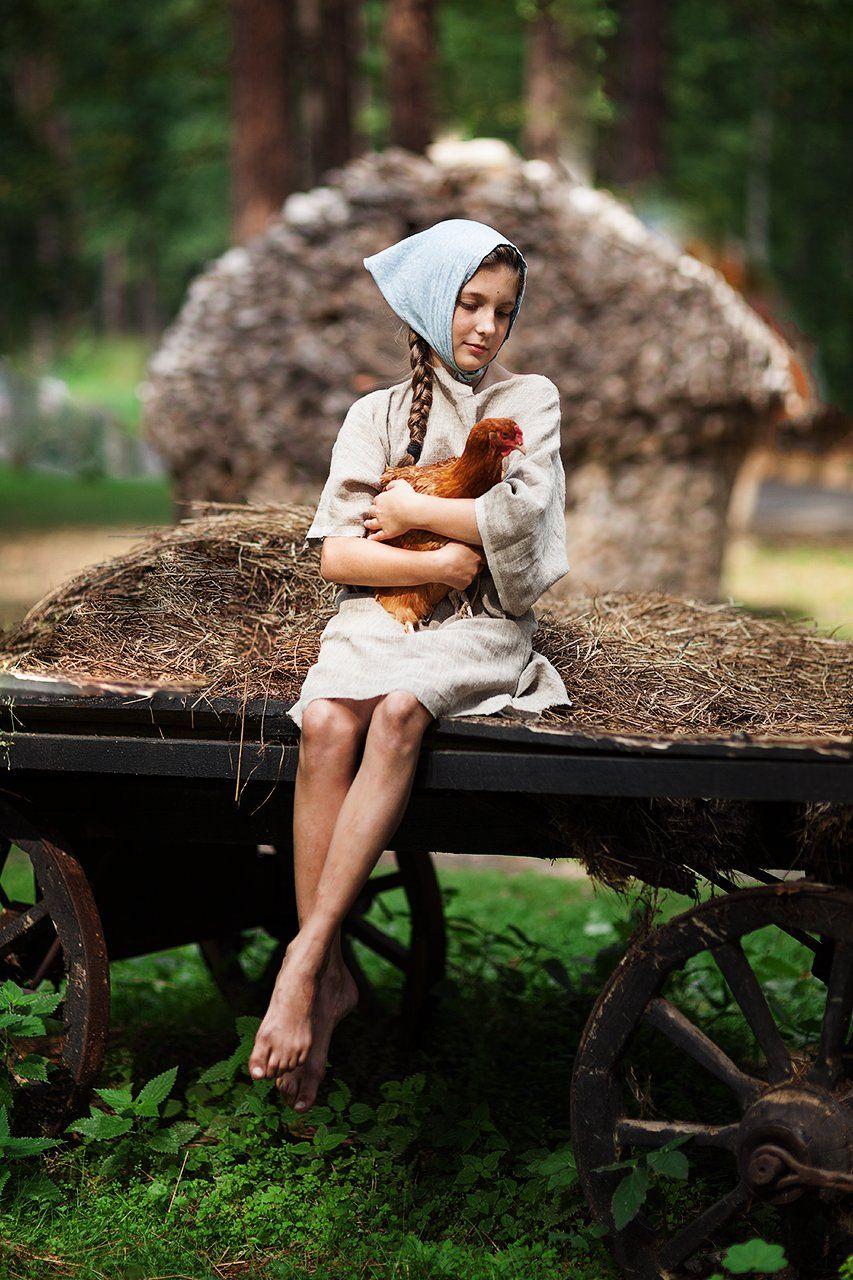 девушка, русская, курица, курочка, крестьянка, сказка, историческая, красивая, Комарова Дарья
