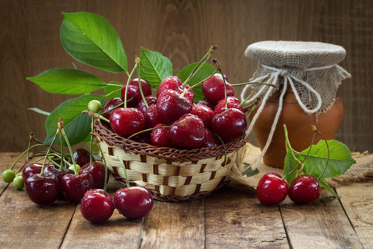натюрморт, ягоды, черешня, крынка, Шруб (Беляева) Татьяна