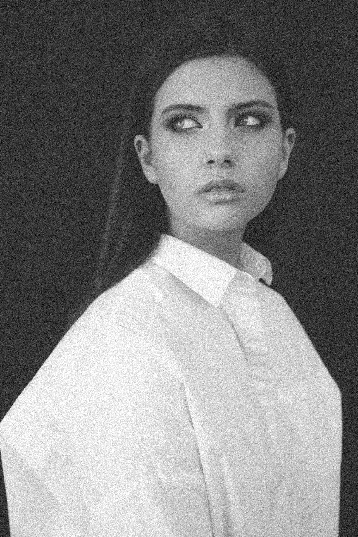 portrait girl model bw портрет девушка модель, Dancho