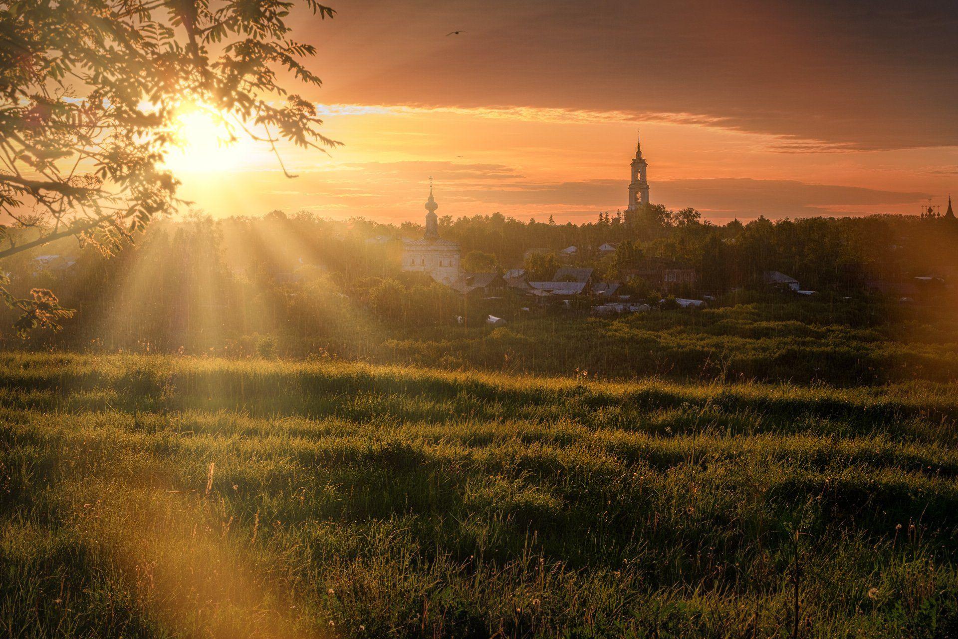 пейзаж, город, суздаль, храм, церковь, монастырь, рассвет, река, каменка, дождь, Андрей Чиж