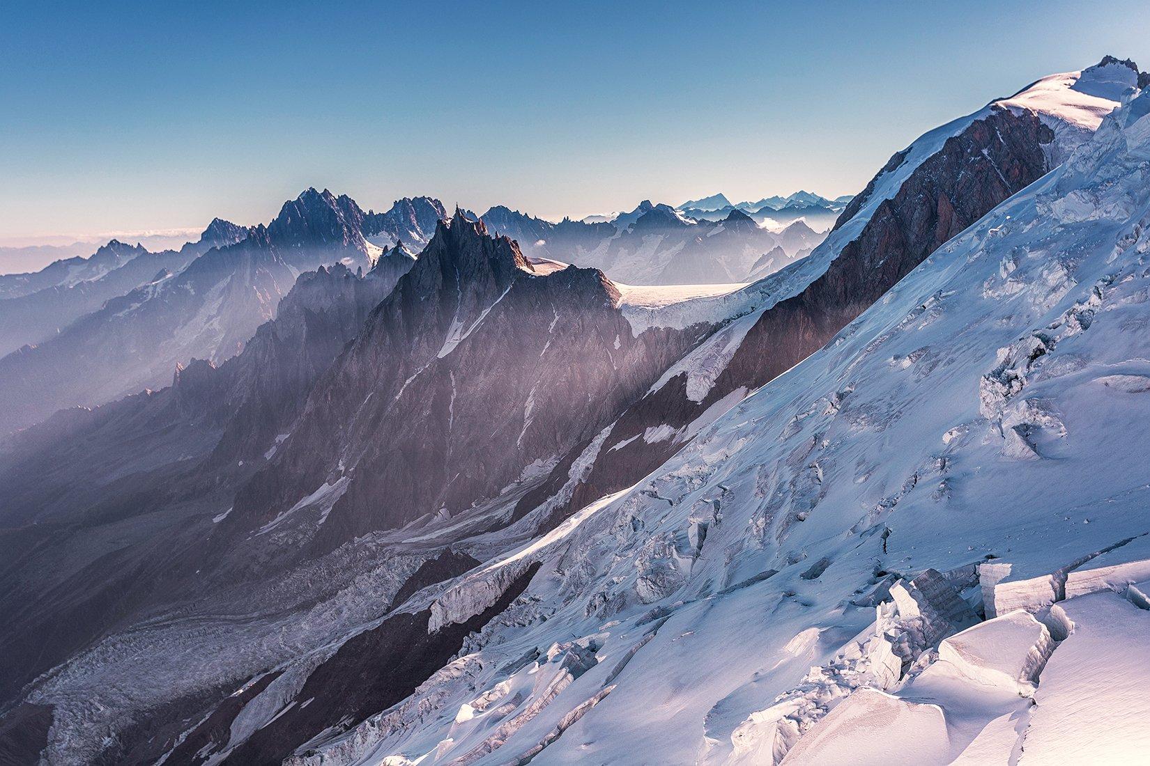View to Aiguille du midi, Alp, Alps, Mont Blanc, summit, top, snow, mountains, trekking, trip, Patrycja