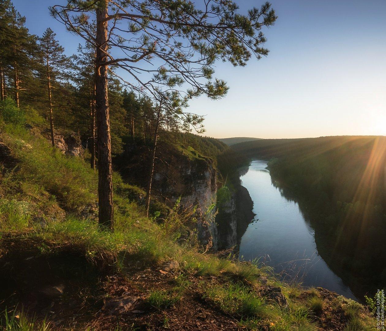 утро, рассвет, скалы, река, ай, большой айский притес, лес, челябинская область, Владимир Ушаков