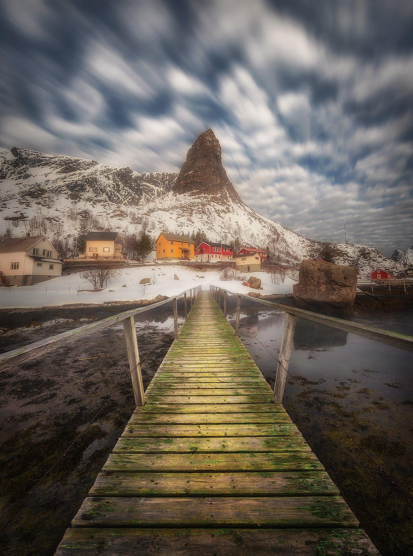 long exposure, clouds, Reine, Lofoten, Norway, fjord, village, bridge, sea, water, mountains,, Patrycja
