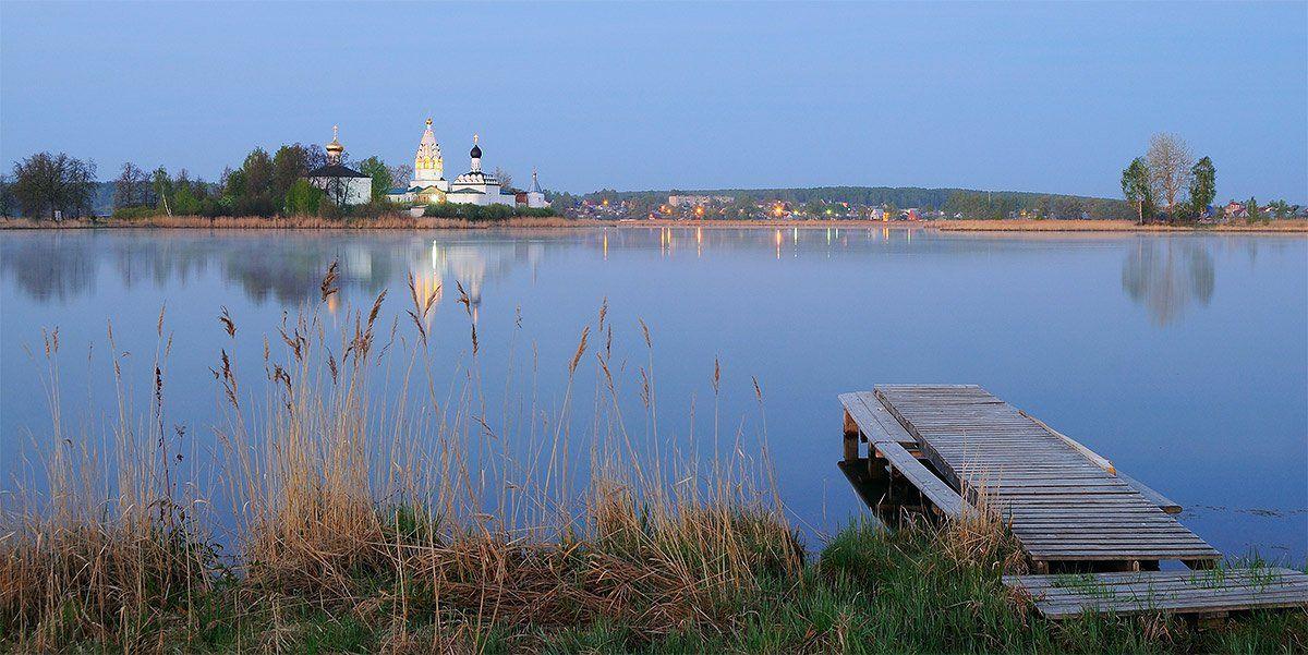 утро, озеро, монастырь, рассвет, Andres Ganenkoff