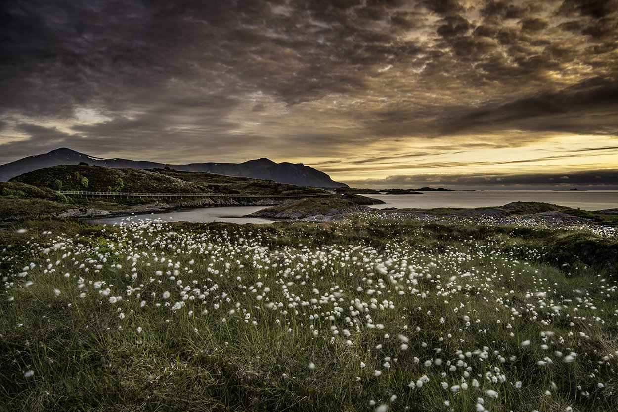 norway, landscape, midnight, sunset, atlantic ocean road, Sylwia Grabinska