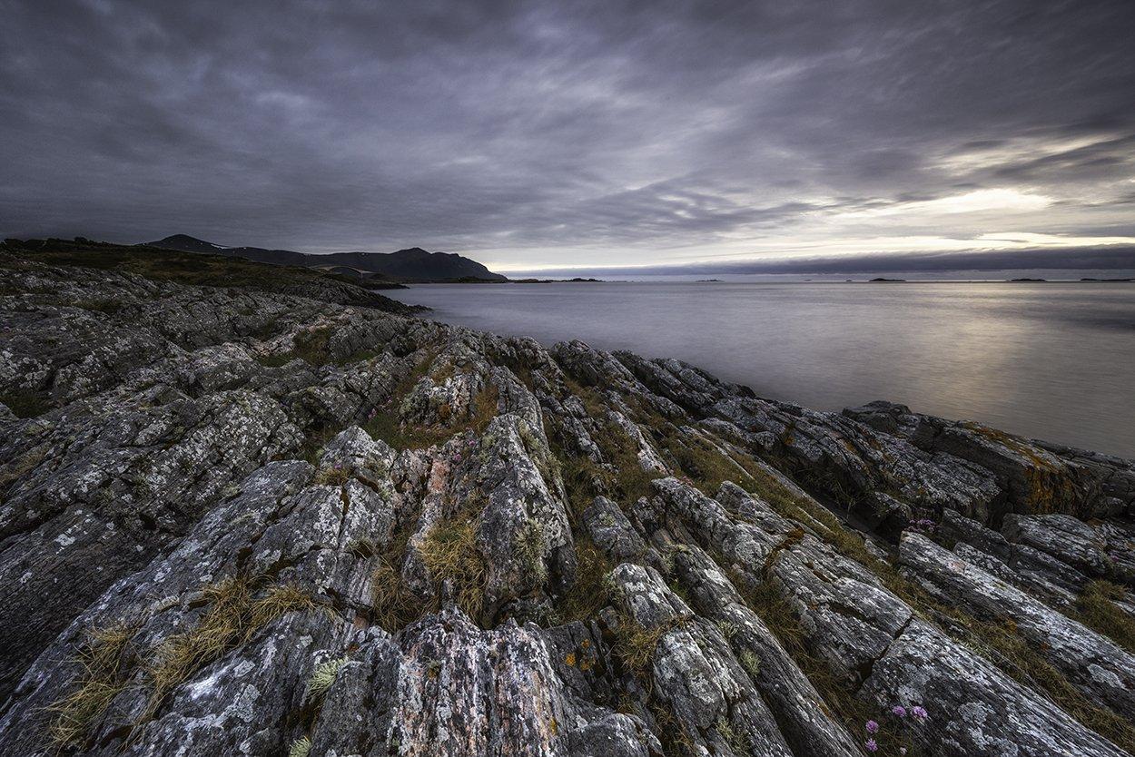 landscape, midnight, norway, atlantic ocean road, rocks, seacape, Sylwia Grabinska
