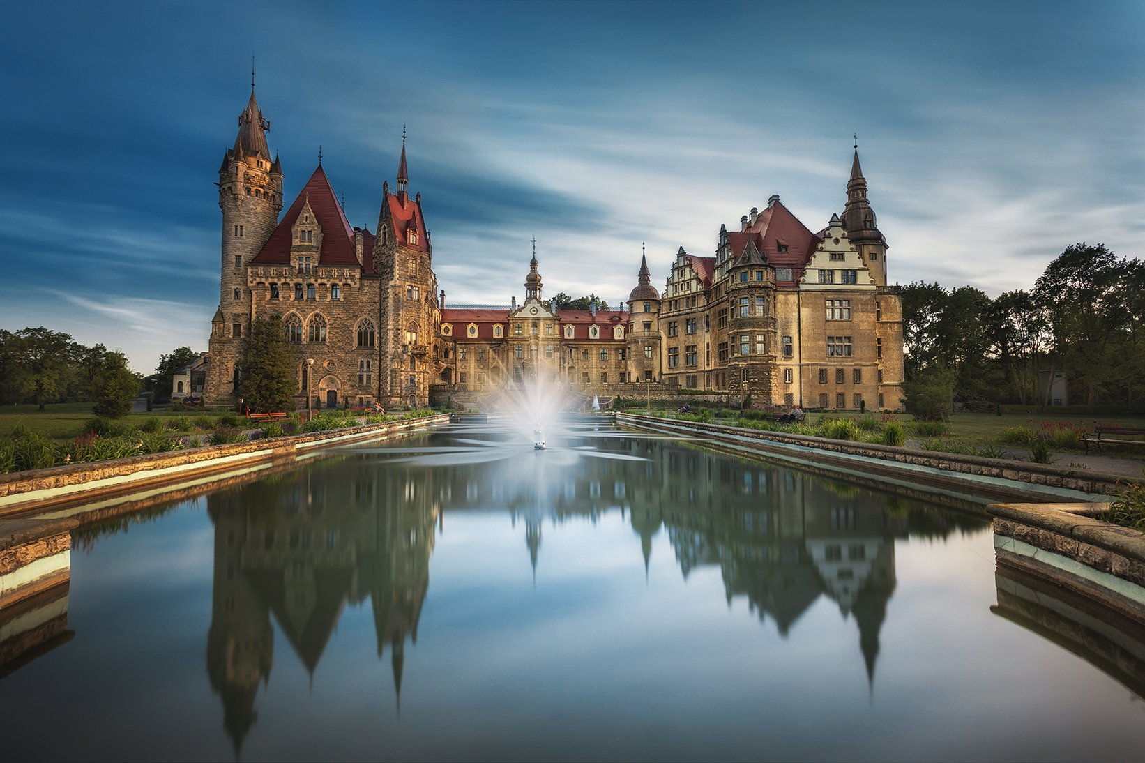 palace, castle, building, architecture, pool, water, long exposure, clouds, , Patrycja