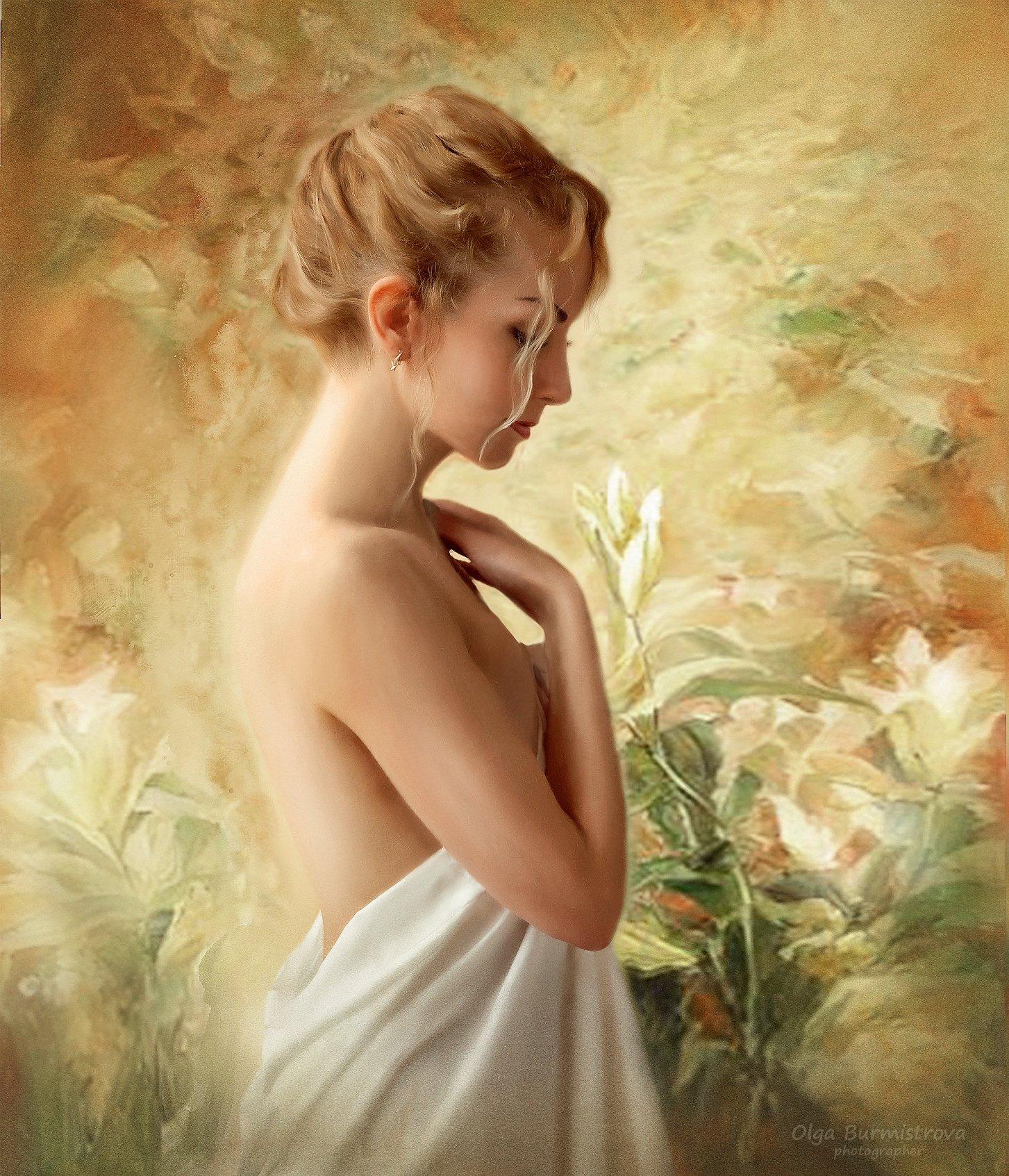 девушка, блондинка, белые лилии, цветы, фотоарт, Ольга Бурмистрова