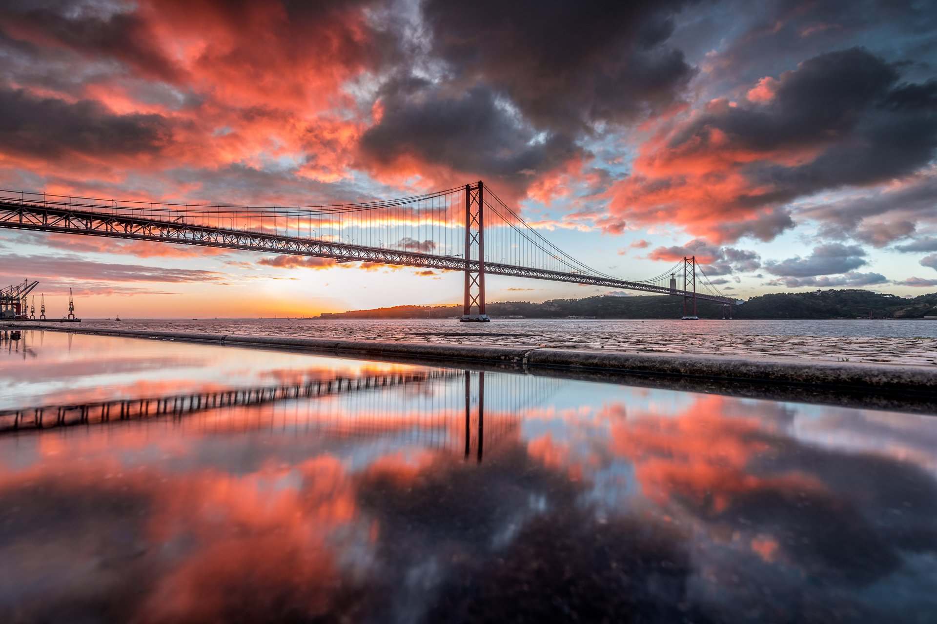 Hugo, Só, Hugo Só, Nikon, D810, Reflexes, Bridge, Lisbon, Clouds, Sunrise, Hugo Só